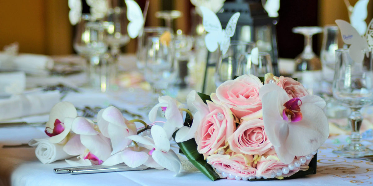 Canva - Table Setting with Wedding Bouquet